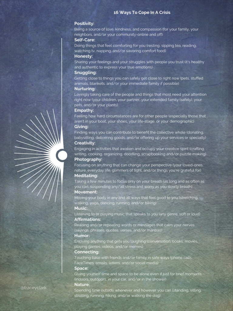A written list of ways to cope in a crisis on a blue green textured background.